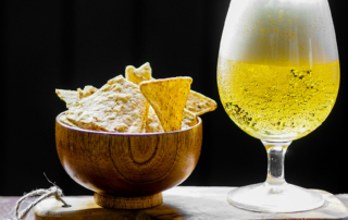 Beer and chips for Harvest Brew Fest